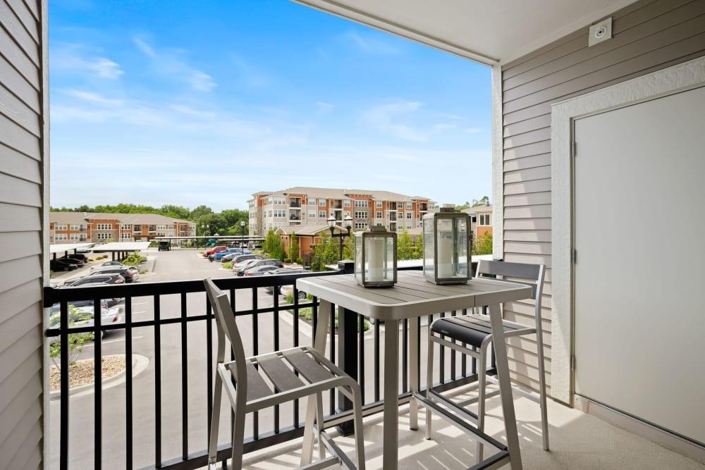 Apartment balcony at Altitude 970 in Kansas City, Missouri.