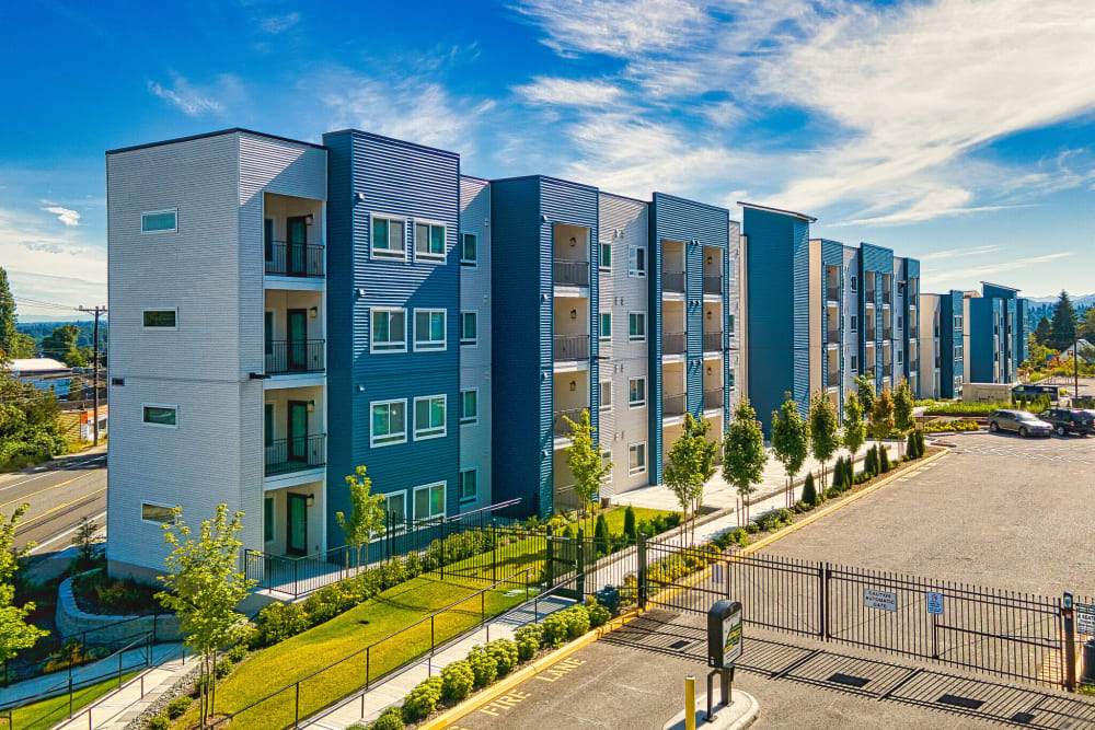 Complex exterior on a sunny day at LARC at Burien in Burien, Washington
