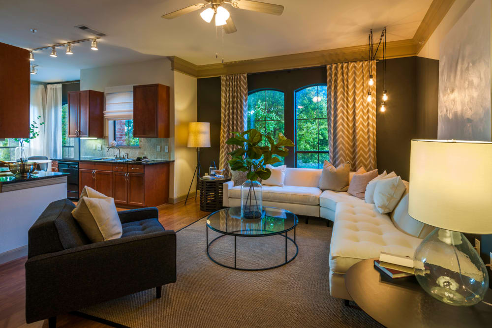 Large living room windows at Residences at The Triangle in Austin, Texas