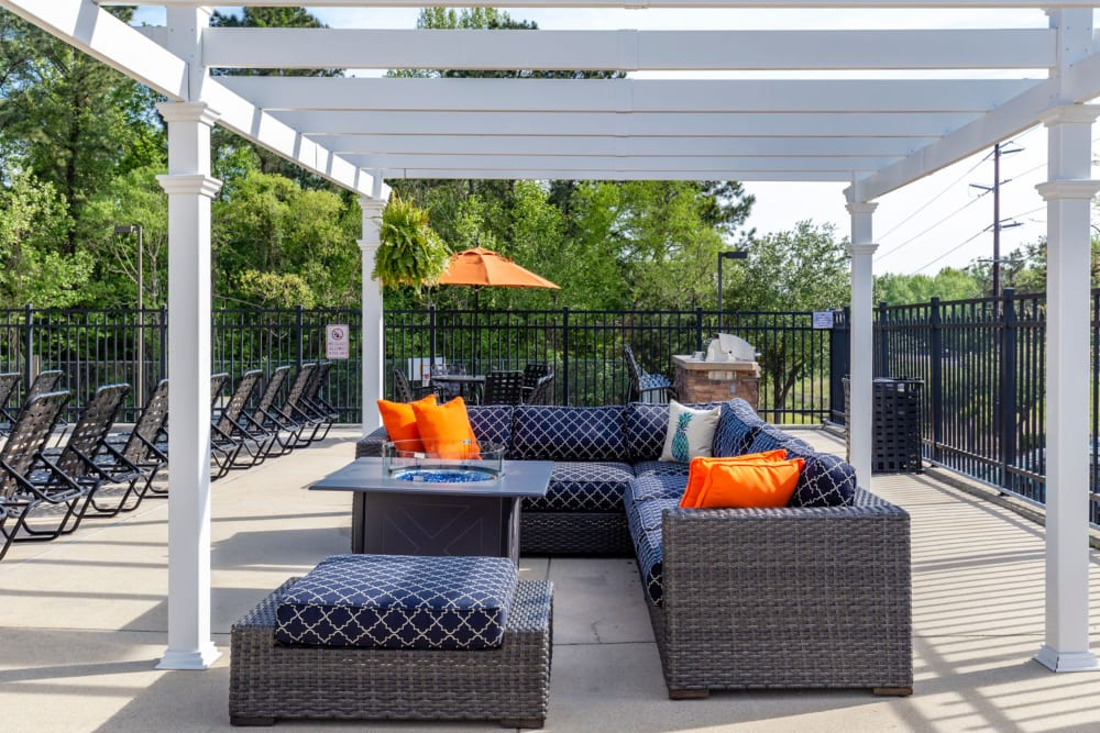 Outdoor lounge at Sunchase Apartments in Greenville, North Carolina