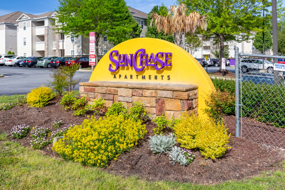 Front sign at Sunchase Apartments in Greenville, North Carolina