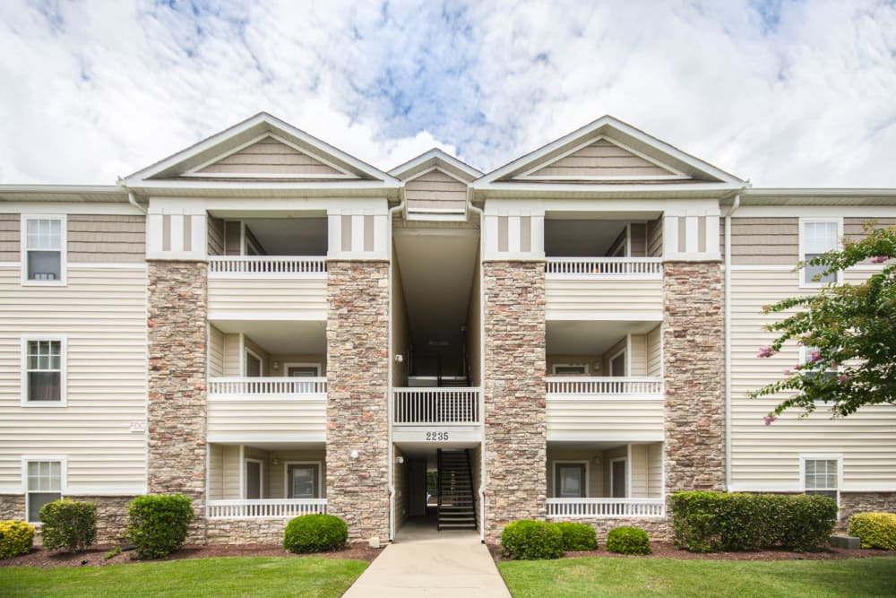 Private balconies for residents of Sunchase Apartments in Greenville, North Carolina