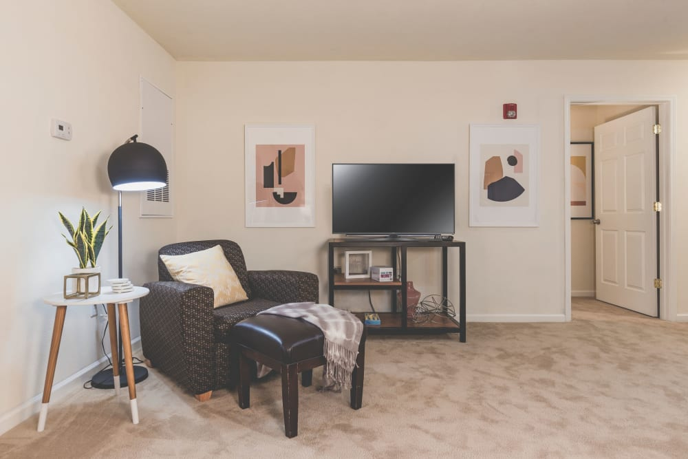 Carpeted flooring in apartment at Sunchase Apartments in Greenville, North Carolina