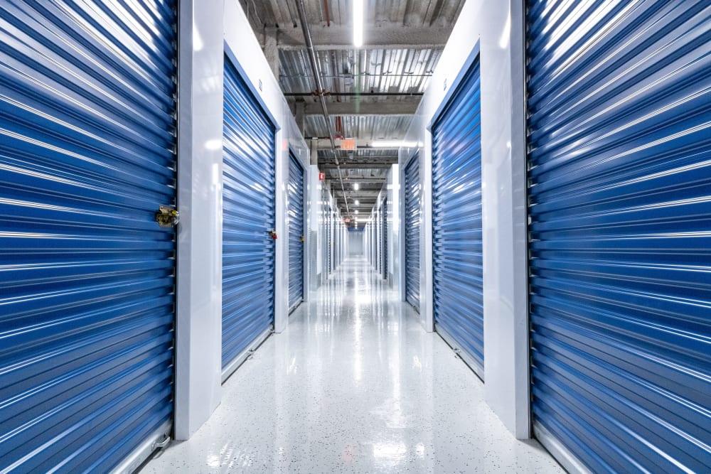A row of indoor storage units at Atlantic Self Storage in Jacksonville, Florida