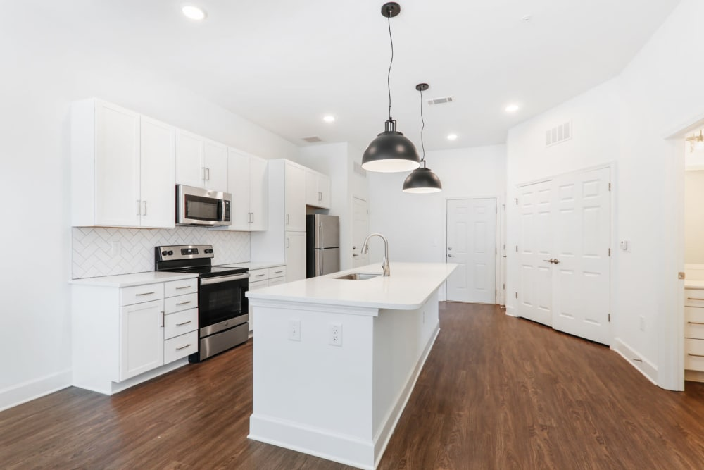 Modern kitchen room with an island at Arcadia Decatur, GA