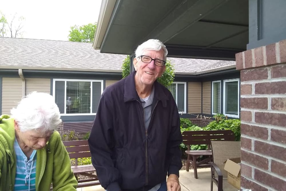 senior residents taking a walk
