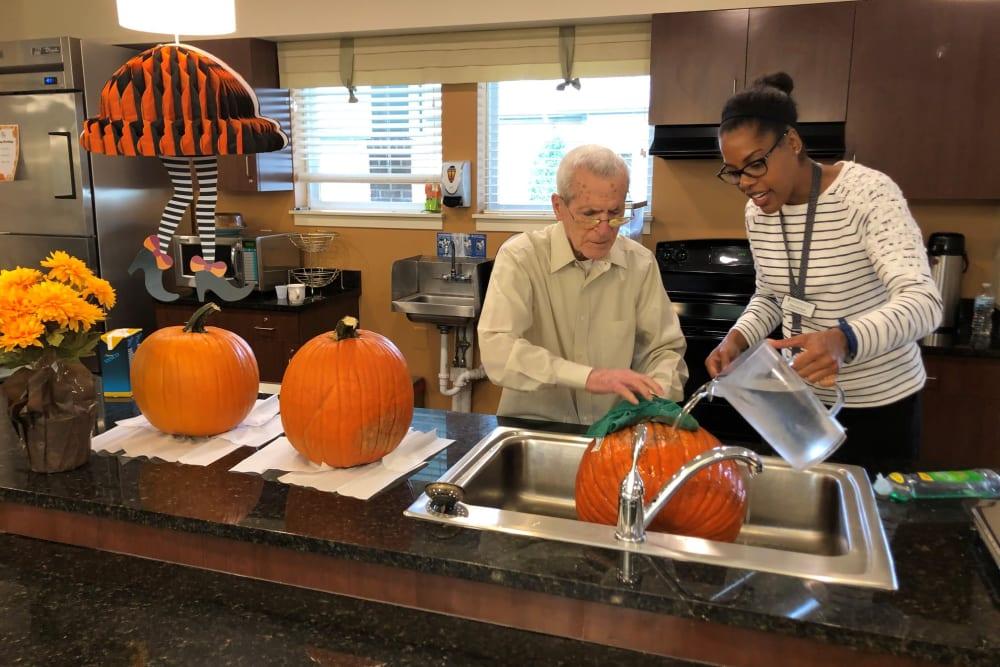 senior residents enjoying a fall celebration