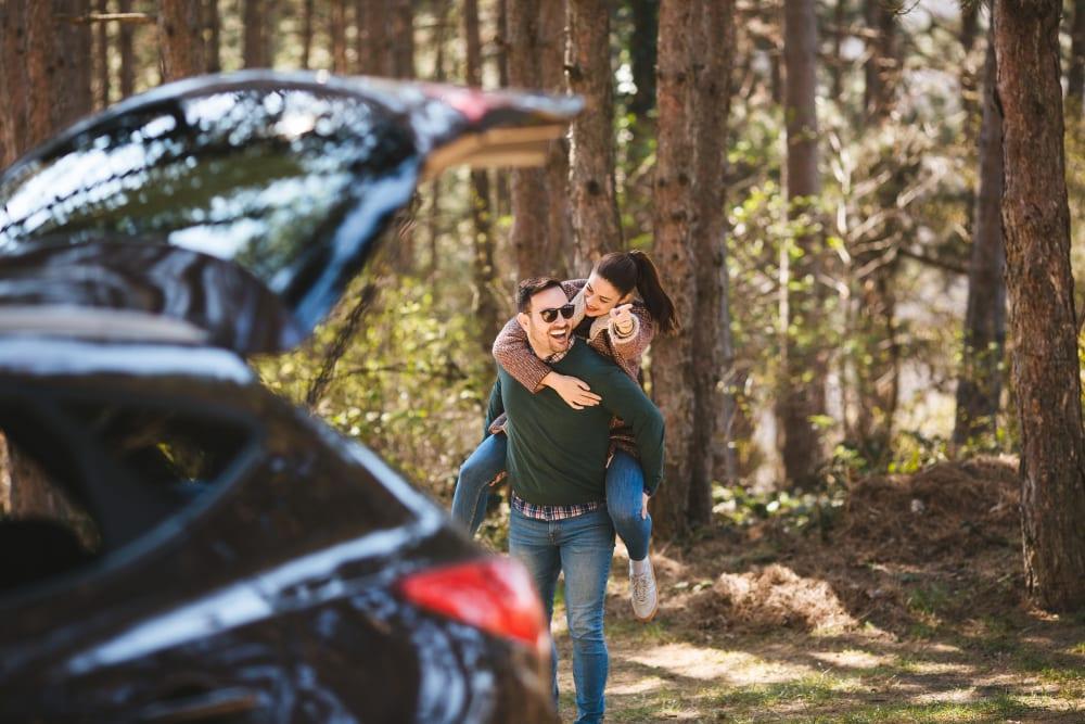 Couple enjoying the woods near Storage Units in Jacksonville, Florida