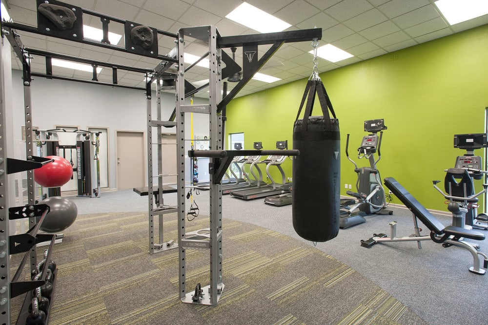 The fitness center with a variety of equipment at Deer Valley Apartment Homes in Roseville, California