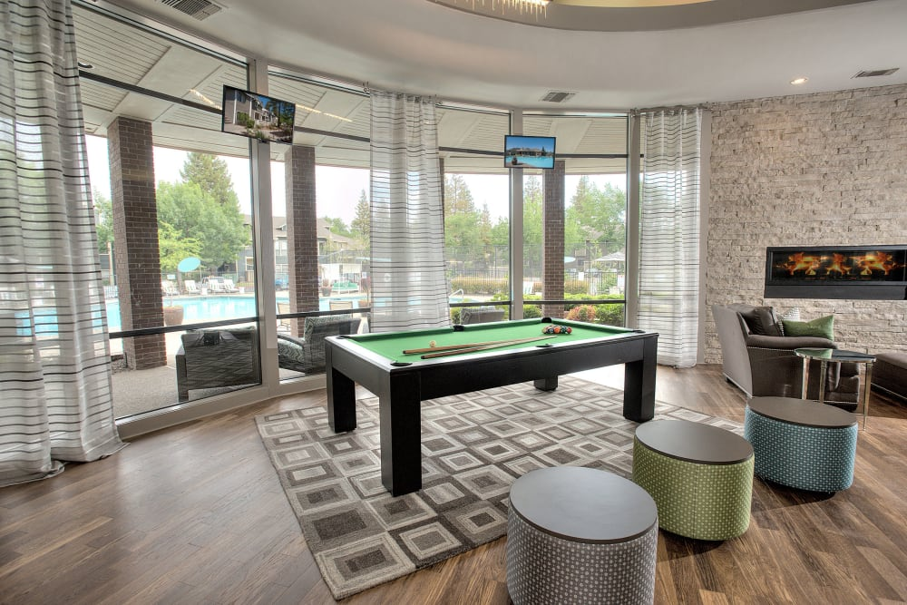 A pool table for resident use in the clubhouse at Deer Valley Apartment Homes in Roseville, California