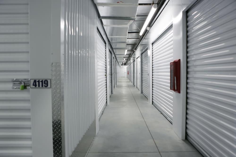 Hallway of interior units at Midgard Self Storage