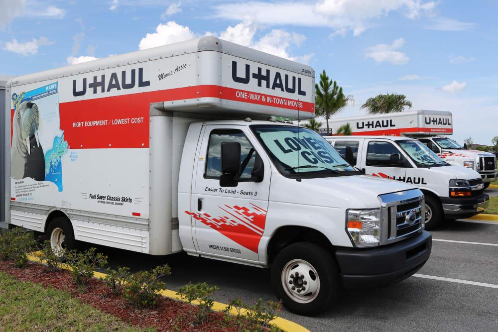 Moving trucks at Midgard Self Storage