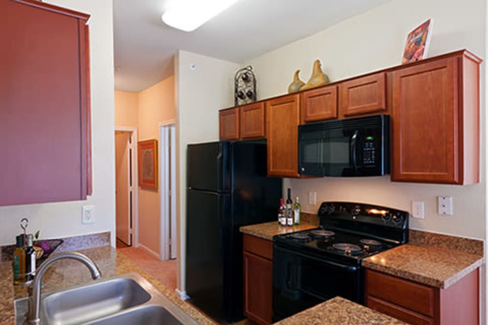 Spacious kitchen with black appliances at Somerset at Spring Creek in Plano, Texas