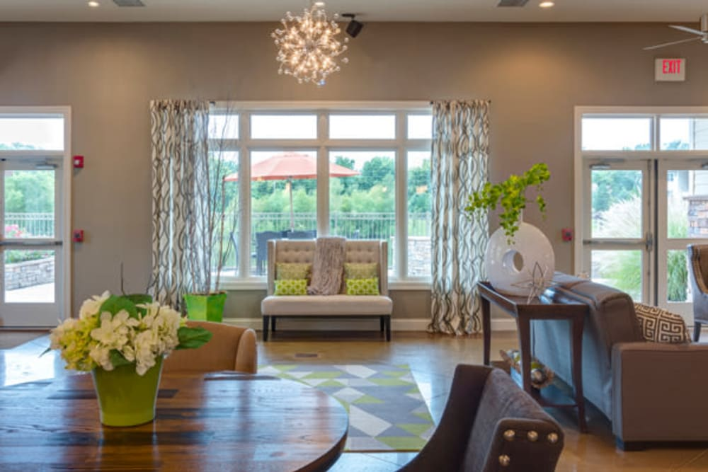 Luxury living room at The Fairways Apartment Homes in Lee's Summit, Missouri