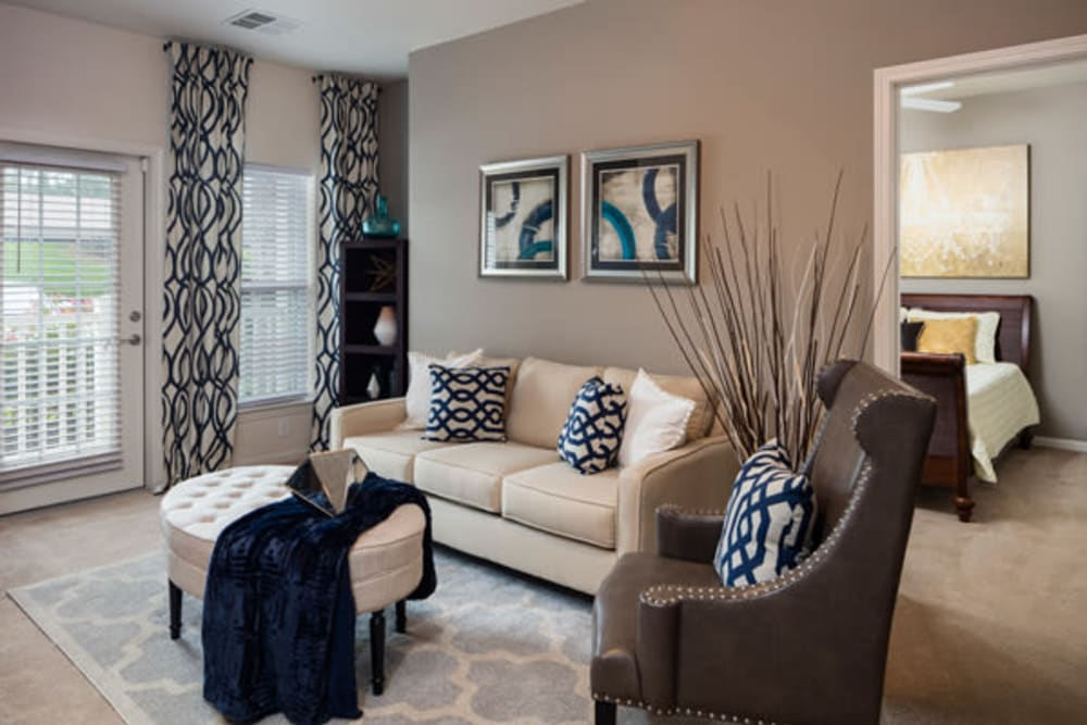 The Fairways Apartment Homes offers a luxury living room in Lee's Summit, Missouri
