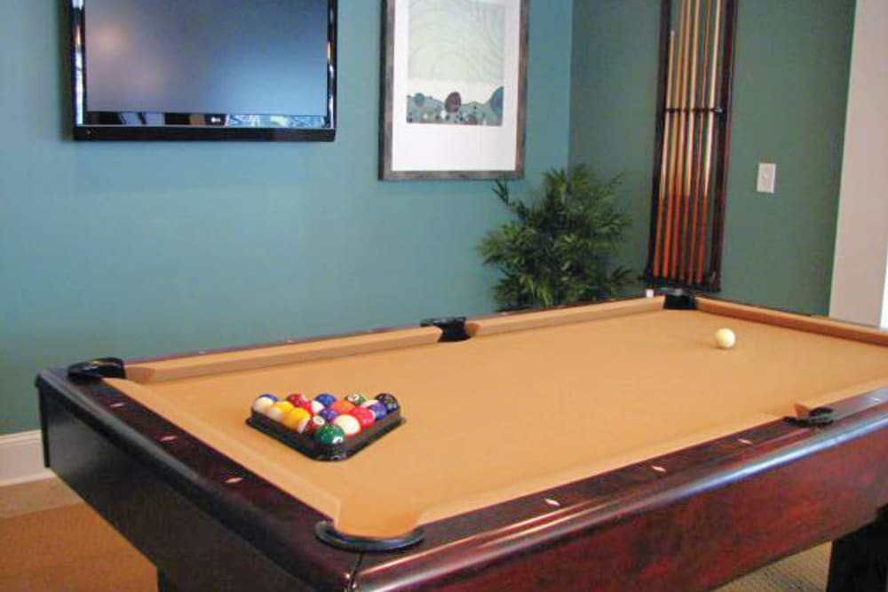 Billiards table in the clubhouse at Azalea Springs in Marietta, Georgia