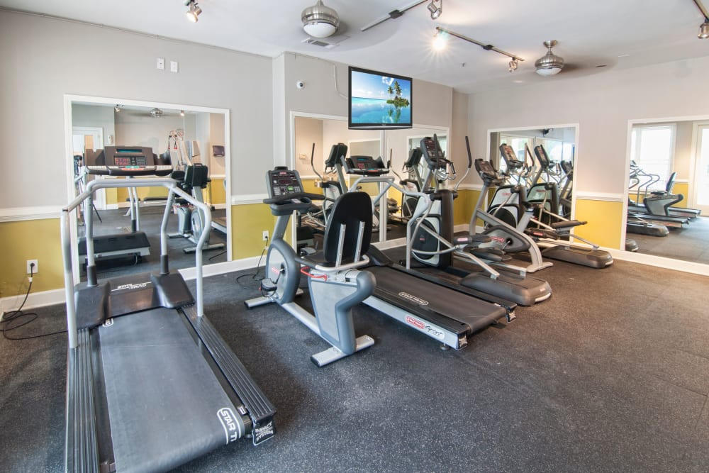Well-equipped onsite fitness center at Bellingham Apartment Homes in Marietta, Georgia
