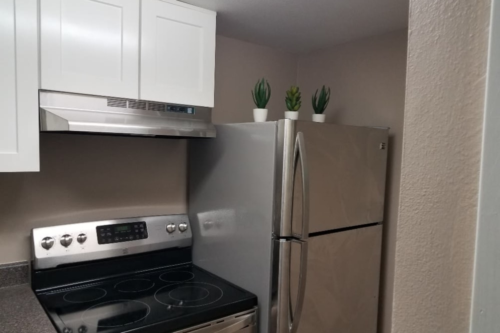 Stainless-steel appliances at The Villages at Meyerland in Houston, Texas