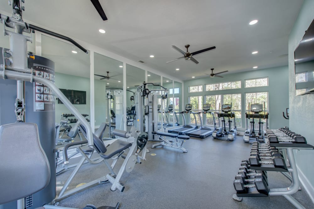 Fitness center with dumbells treadmills elliptical machines and other fitness equipment at Ingleside Apartments in North Charleston, South Carolina