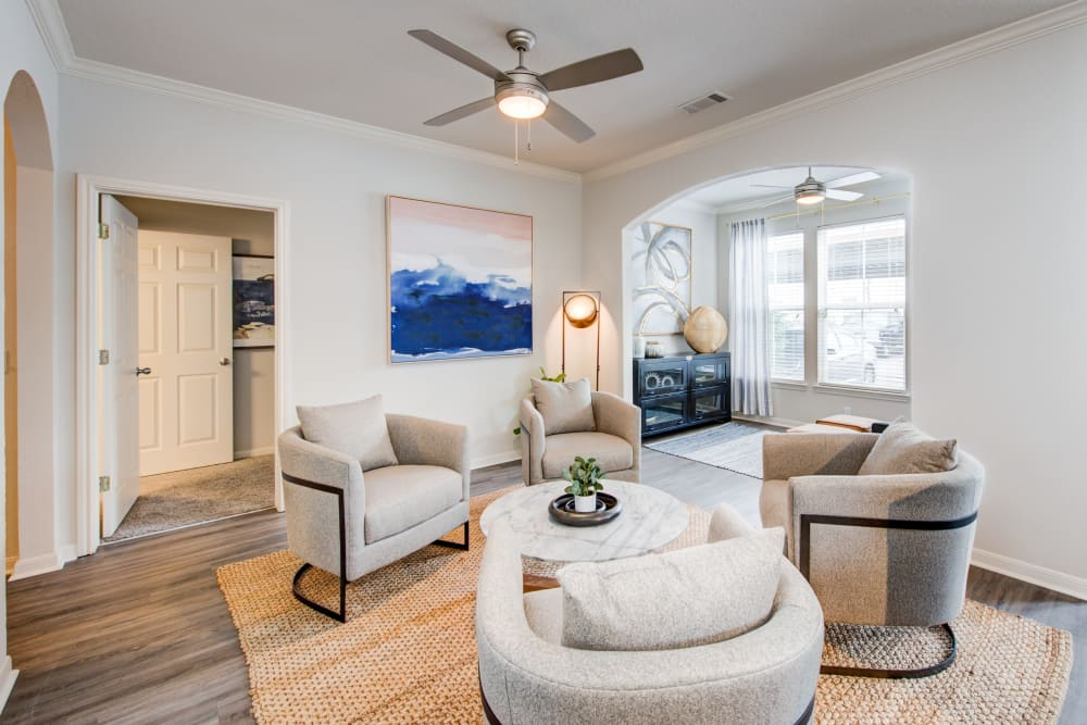 Model living room with den at Ingleside Apartments in North Charleston, South Carolina