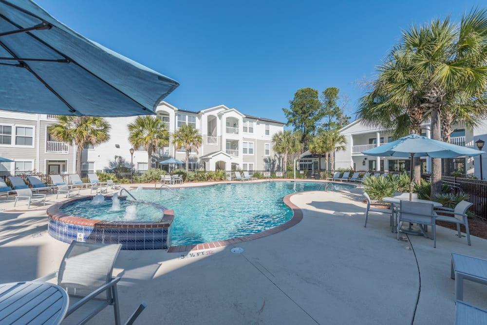 Resort style swimming pool and spa at Ingleside Apartments in North Charleston, South Carolina