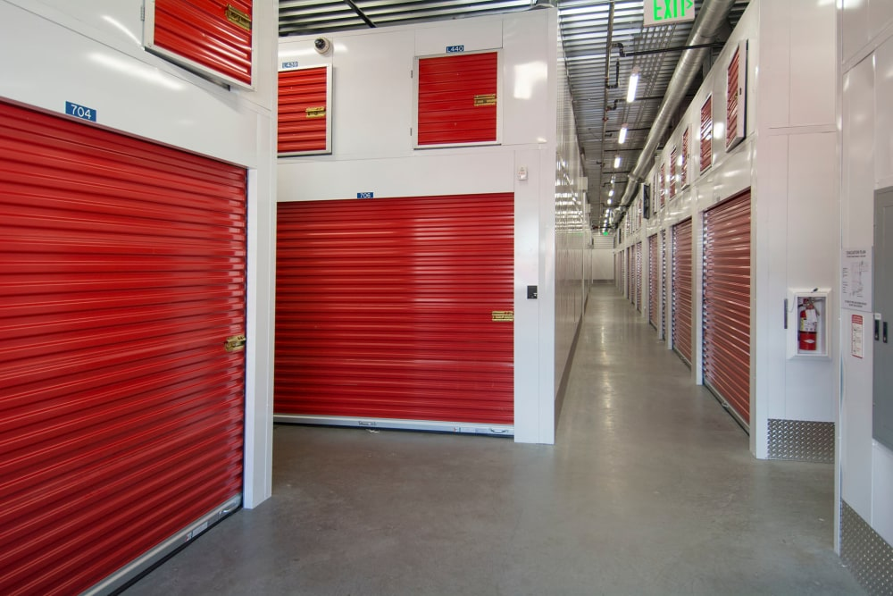 Interior units with red doors at Trojan Storage in San Diego, California