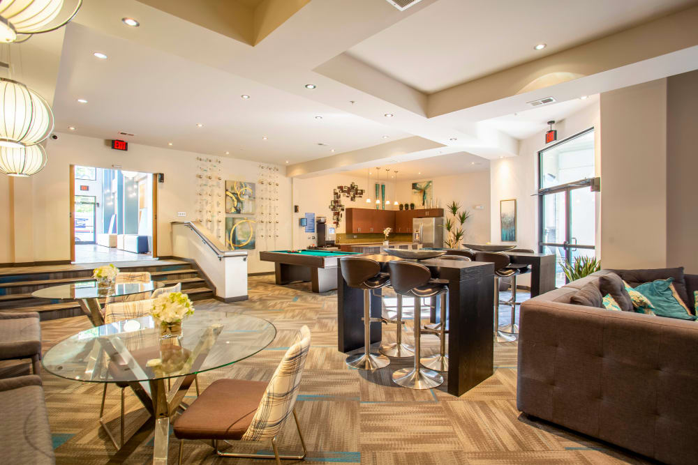 Resident clubhouse lounge at Olympus Midtown in Nashville, Tennessee