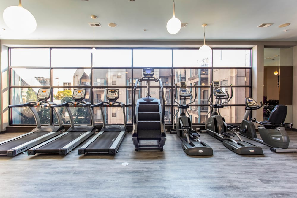 Plenty of cardio equipment in the fitness center at Olympus Midtown in Nashville, Tennessee