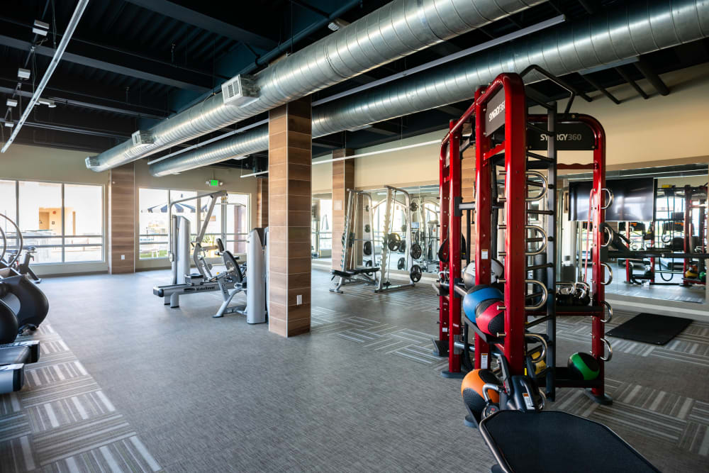 Well-equipped onsite fitness center at Fusion Apartments in Irvine, California