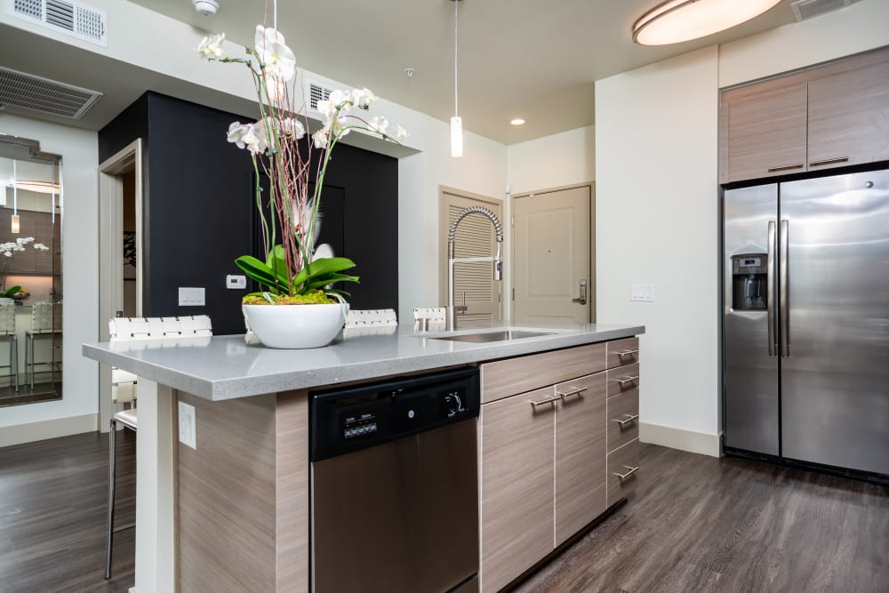 Gourmet kitchen with an island and stainless-steel appliances in a model apartment at Fusion Apartments in Irvine, California