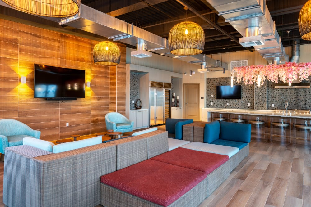 Resident clubhouse lounge at Fusion Apartments in Irvine, California
