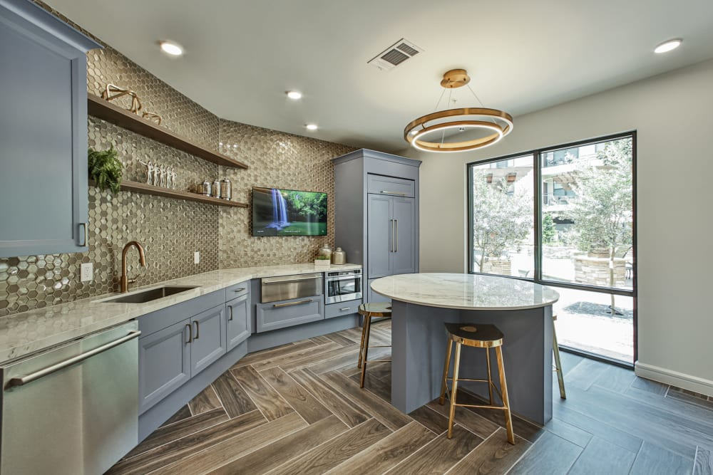 Kitchen in resident lounge of Broadstone Toscano in Houston, Texas