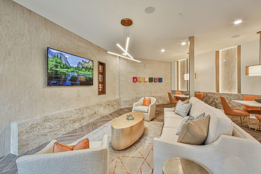 Resident sofas and TV at Broadstone Toscano in Houston, Texas