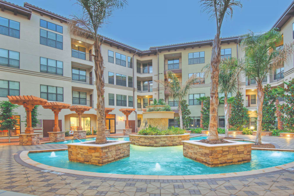 Resort-style pool at Broadstone Toscano in Houston, Texas