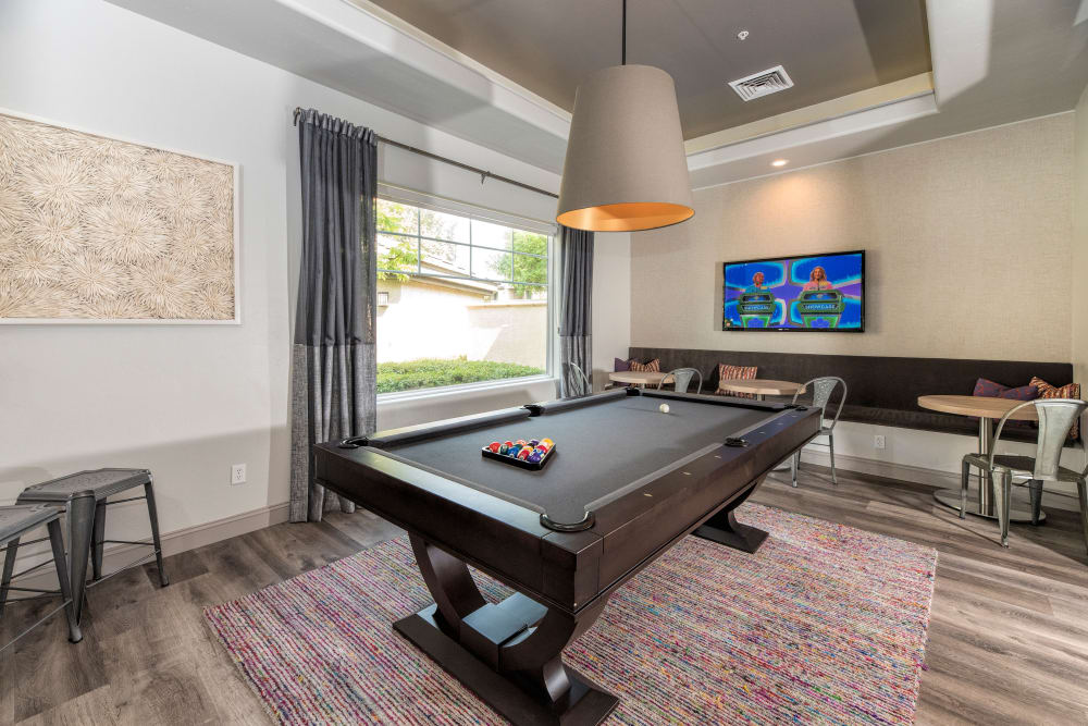 Billiards room with a flat-screen TV at The Artisan Apartment Homes in Sacramento, California