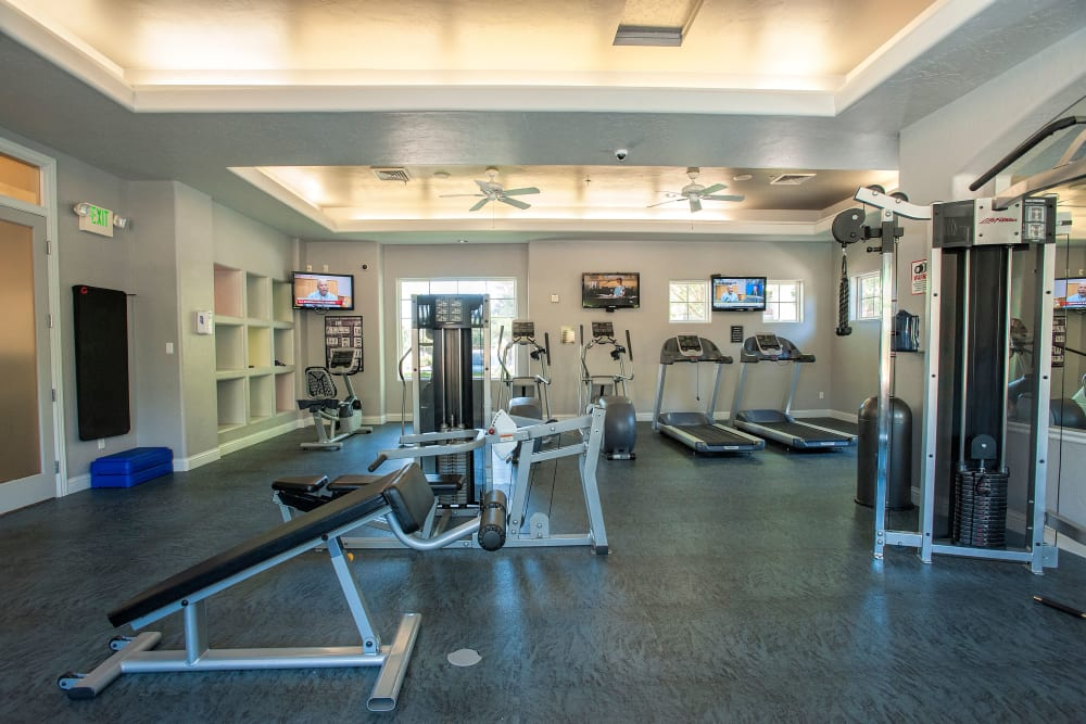 Fitness gym with plenty of individual workout stations at The Artisan Apartment Homes in Sacramento, California
