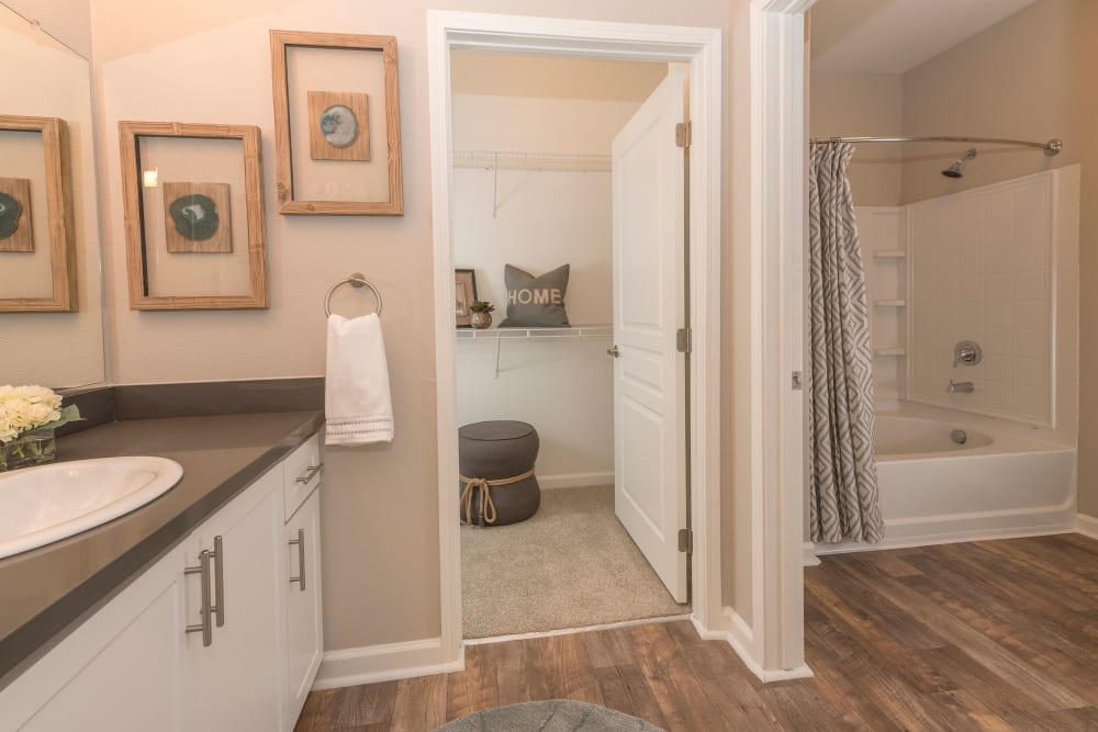 Large main bathroom with a walk-in closet at The Artisan Apartment Homes in Sacramento, California