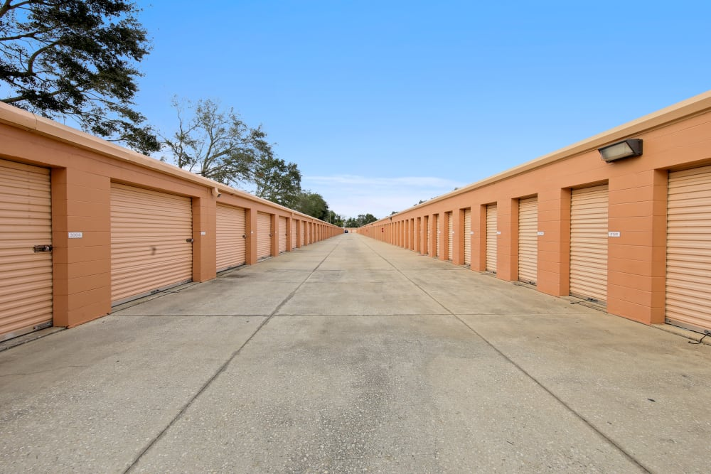 Large driveway through self storage units at My Neighborhood Storage Center in Orlando, Florida