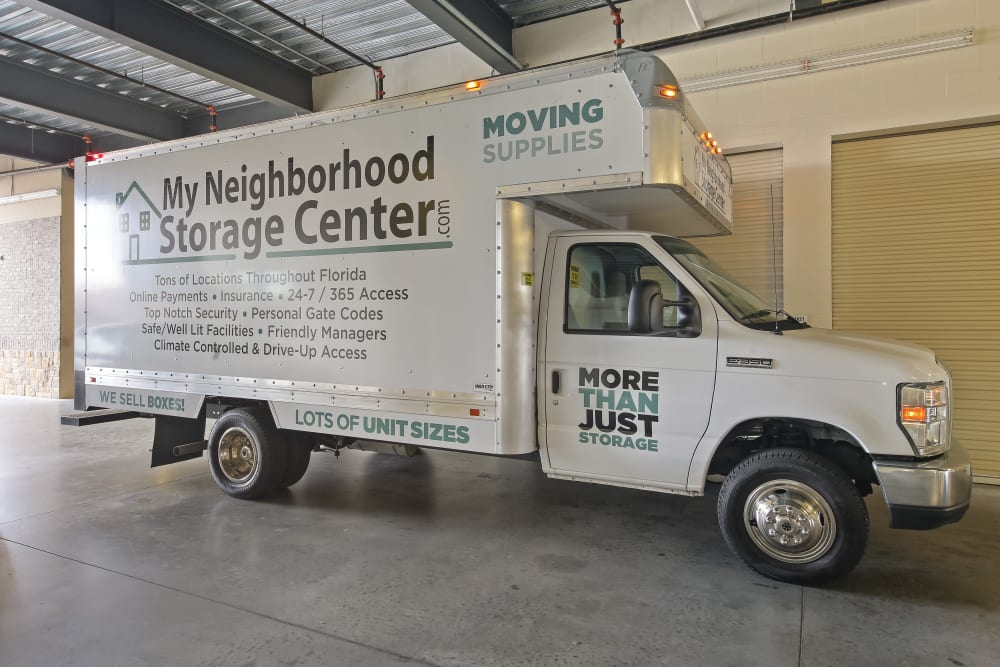 A moving truck available from My Neighborhood Storage Center in Orlando, Florida