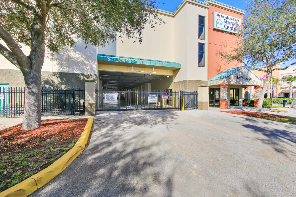 Driveway leading into My Neighborhood Storage Center in Orlando, Florida