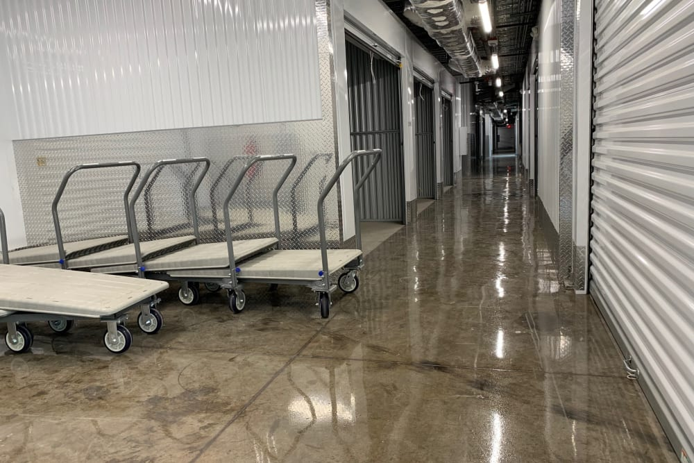Carts inside the storage facility at My Neighborhood Storage Center in Jacksonville, Florida
