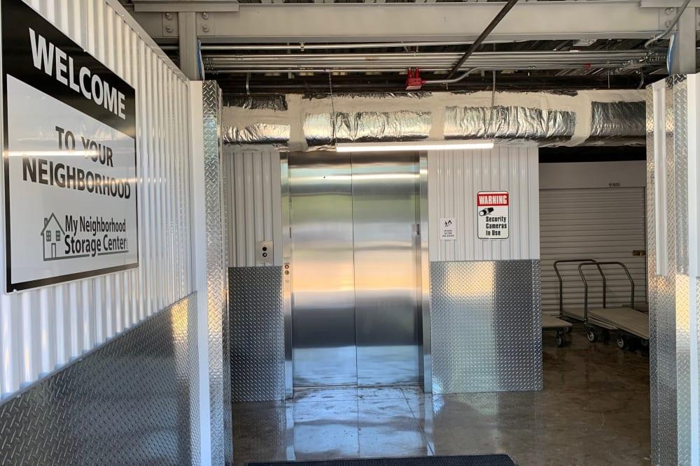 Elevator leading to storage units at My Neighborhood Storage Center in Jacksonville, Florida