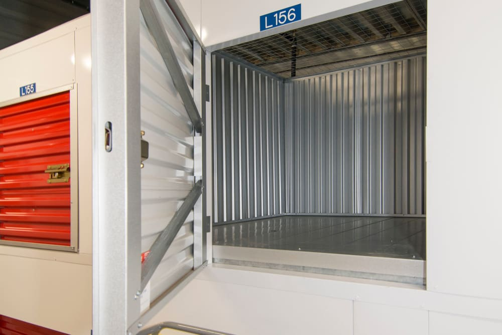Small indoor storage units at Trojan Storage in San Jose, California