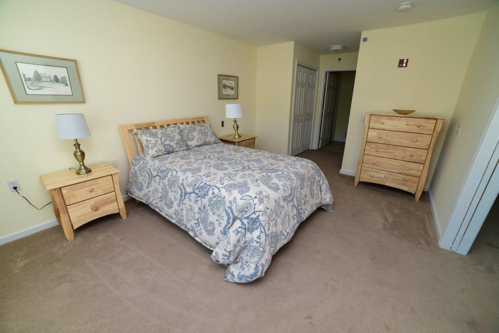 A spacious bedroom at Harbor Village Senior Communities in South Burlington, Vermont