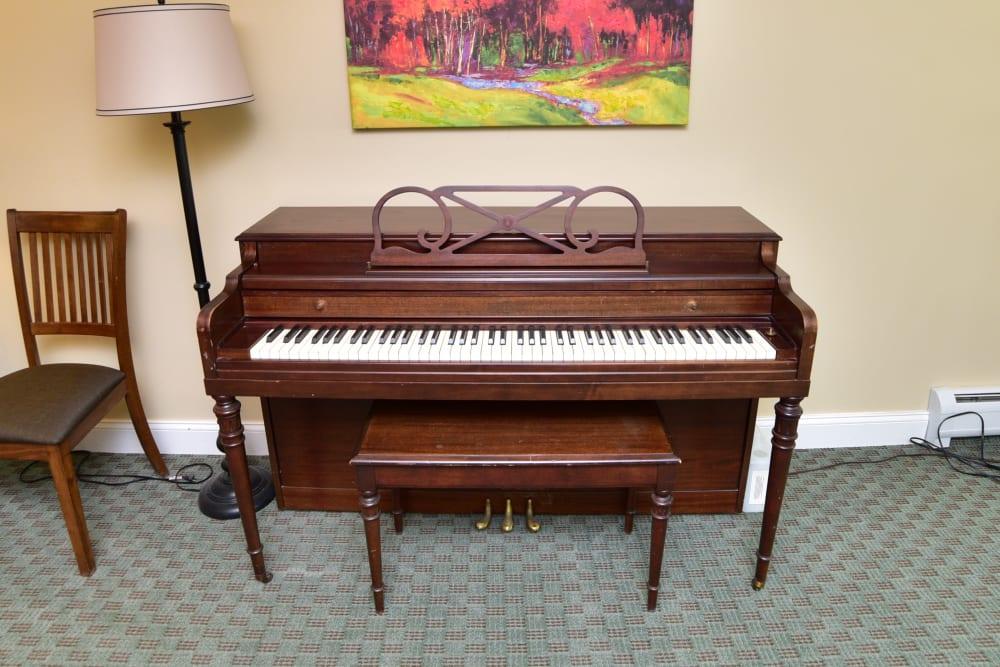 A piano at Harbor Village Senior Communities in South Burlington, Vermont
