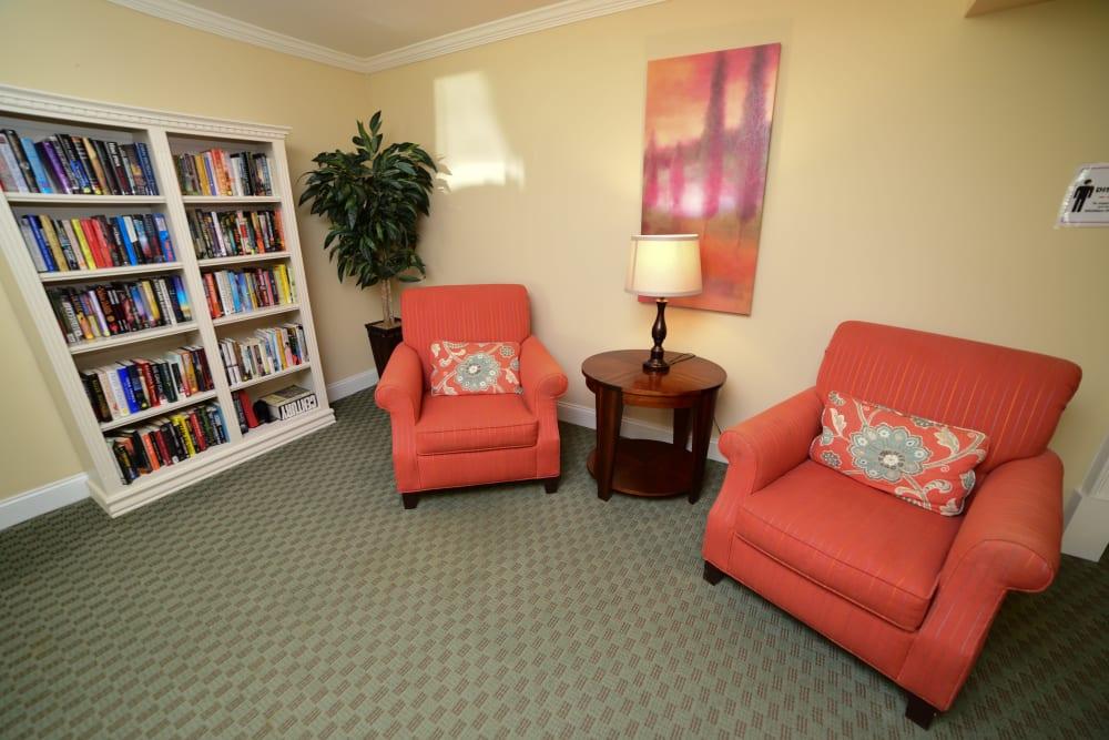 A reading room at Harbor Village Senior Communities in South Burlington, Vermont
