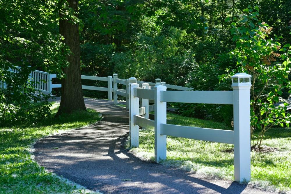 A walkways through the grounds at Harbor Village Senior Communities in South Burlington, Vermont