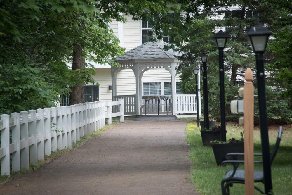 A walkway to the gazebo at Harbor Village Senior Communities in South Burlington, Vermont