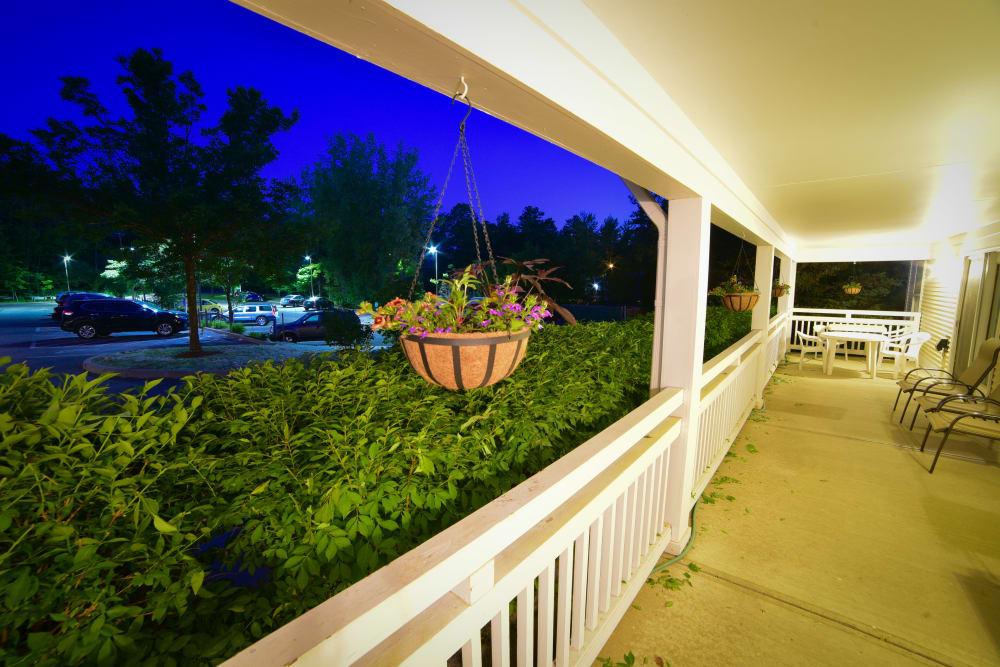 Covered porch area at Harbor Village Senior Communities in South Burlington, Vermont