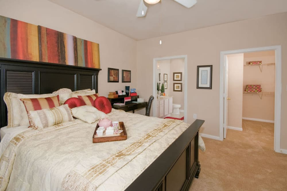 Model bedroom at Preston View in Morrisville, North Carolina